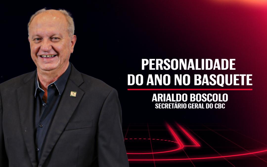 Arialdo Boscolo, presidente da FENACLUBES e secretário geral do Conselho Consultivo do CBC , recebe o título de Personalidade do Ano do NBB
